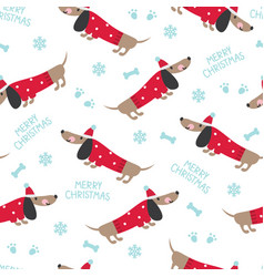 winter seamless pattern with cute dogs vector image