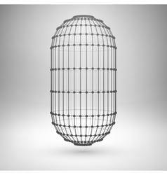 Wireframe mesh polygonal capsule vector image