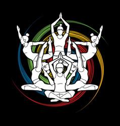 yoga class group women practice yoga vector image
