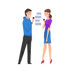 young man and woman standing with smartphones vector image