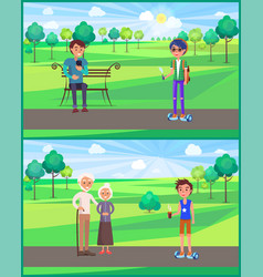 Young teen and grandparents in park set vector