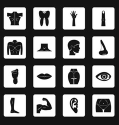 body parts icons set squares vector image