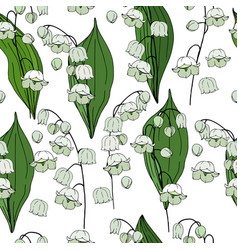 Seamless floral decorative pattern with lilies of vector
