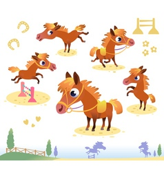 Set of bay horses vector image vector image