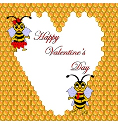 Two funny cartoon bees with a heart vector image