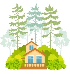 houses and forest vector image vector image