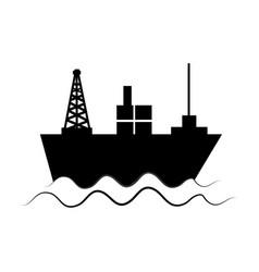 Monochrome silhouette with tanker in sea vector