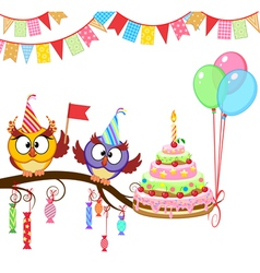 Owl give cake vector