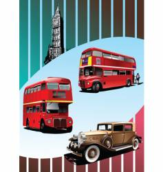 retro car and buses vector image vector image
