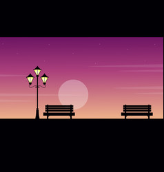At sunrise street lamp with chair landscape vector