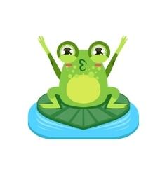 Cartoon Frog Character Cheering vector image vector image
