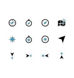 Compass duotone icons on white background vector image