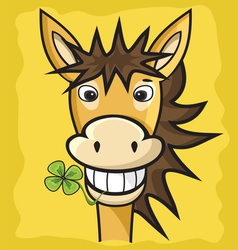 Donkey with clover vector image vector image