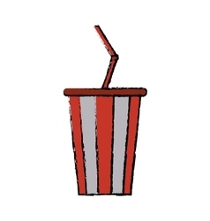 drawing plastic cup soda with straw drink american vector image vector image