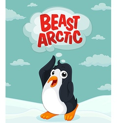 Penguin at the arctic ground vector