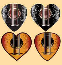 set of stylish colored plectrums for guitar vector image