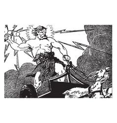 Thors journey to jotun-heim vintage vector