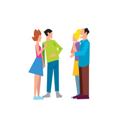 Two family couple speaking together vector
