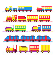 cartoon kids toy trains locomotive and wagons vector image vector image
