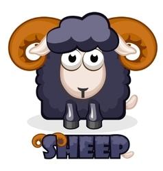 cute cartoon square black Sheep vector image