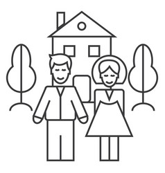 family house line icon sign vector image vector image