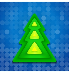 abstract-rounded-green-christmas-tree-on-blue vector image