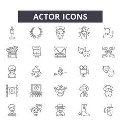 Actor line icons editable stroke signs concept vector