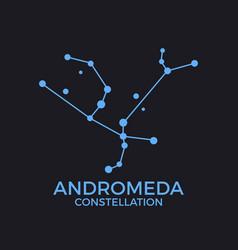 Andromeda constellation stars in night sky vector