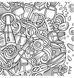 bathroom hand drawn doodles bath room frame card vector image
