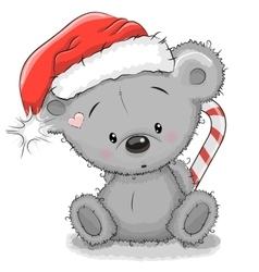 Bear in a Santa hat vector