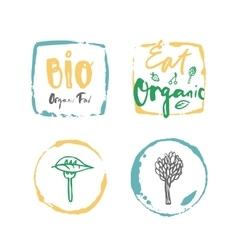 Bio organic food label set vector