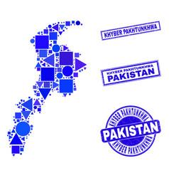 Blue geometric mosaic khyber pakhtunkhwa province vector