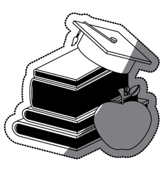 Book graduation cap and apple design vector