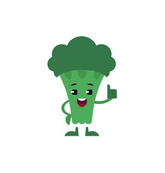 broccoli thumbs up showing ok gesture and smiling vector image