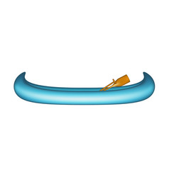 canoe in blue design with paddle vector image