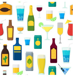 cartoon alcoholic beverages background pattern vector image