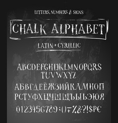 Chalk abc english and russian vector