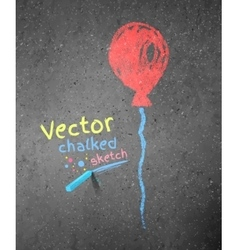 Chalk drawing of red balloon vector