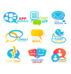chat bubble social media speech talk app icons vector image