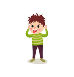 Cheerful boy kid character standing with hands up vector