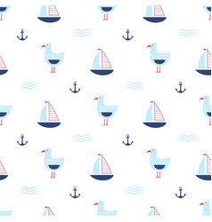 Childish pattern with seagulls vector