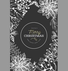 Christmas hand drawn design template vintage vector