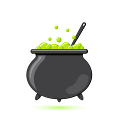 Colored flat icon witches cauldron cartoon vector