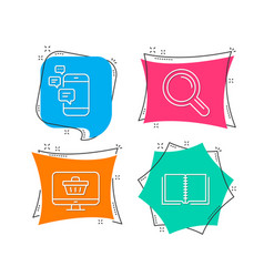 communication research and web shop icons book vector image
