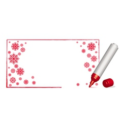 Copy spacecwith snowflakes and 3d red felt-tip pen vector