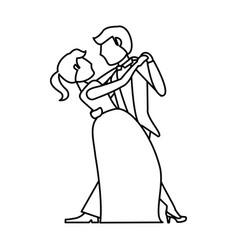 Couple wedding dancing outline vector