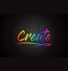 Create word text with handwritten rainbow vibrant vector
