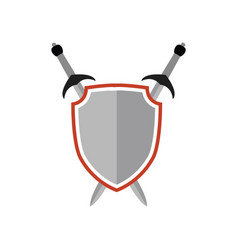 crossed swords and shield symbol vector image