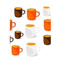 cups of coffee seamles pattern vector image