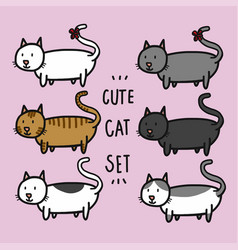cute cats set cartoon doodle vector image